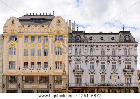 BRATISLAVA, SLOVAKIA - JULY 7, 2009: Palace of the Hungarian exchange bank and Palugyay palace at the old town main square