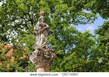 BRATISLAVA SLOVAKIA - JULY 7 2009: Closeup of the Marian Plague Column at the Franciscan square