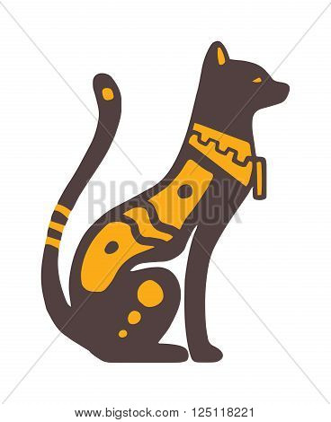Egypt cat vector illustration. Egypt cat isolated on white background. Egypt cat vector icon illustration. Egypt cat isolated vector. Egypt cat silhouette