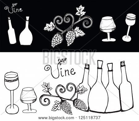 Vine set on the black and white background. Bottle and glass with wine. Garden stuffs and leaves of vine.