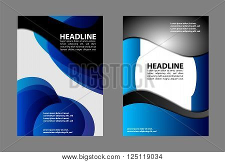 Vector abstract blue black curved space vector background illustration