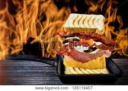 Toast, sandwich - ingredients toast, ham, cheese, egg