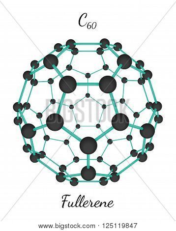 C60 fullerene 3d molecule isolated on white