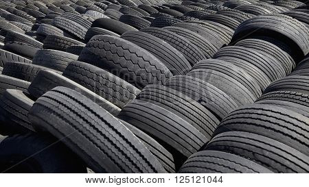 Rows Of Rubber Tires Ready For Bulk Waste Recycling