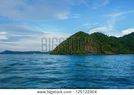 Breathtaking view of hilly island in ocean. Thailand