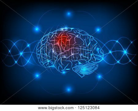 Abstract electric circuit with brain, tecnology concept