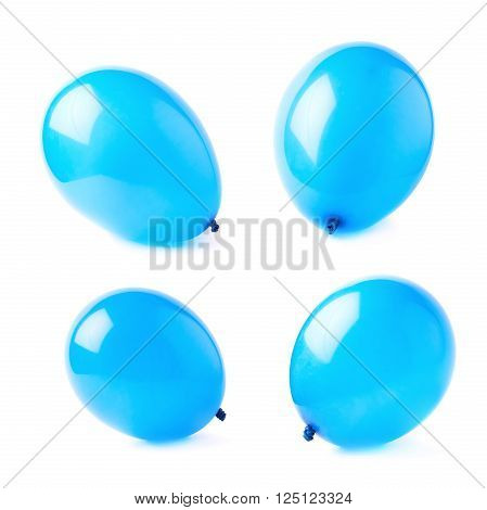 Inflated blue air balloons isolated over the white background, set collection of four different foreshortenings