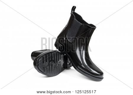 Women's rubber boots on a white background with clipping path