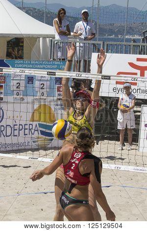 QUARTU S.E. ITALY - June 7th 2014: European Beach Volleyball 2014 - women's tournament - Poetto beach - Sardinia