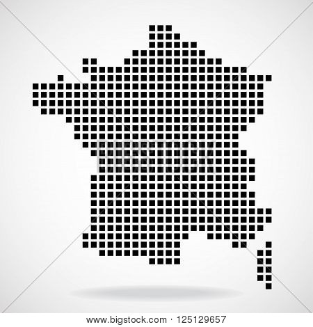 Pixel map of France, isolated on white background