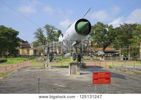 HUE, VIETNAM - JANUARY 07, 2016: Soviet MiG-21 close up. Historical landmark of the city Hue