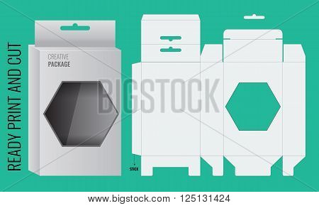 Ready Box design with Shelf Hanging Holes and Die cut Layout. Blueprint design. Illustrated vector. Ready print and cut.  Box with polygon window