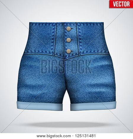 Stylish denim shorts with a high waist. Front view. Vector Illustration isolated on background.
