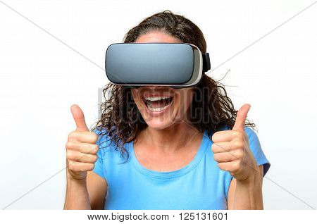 Woman Wearing A Pair Of Virtual Reality Goggles