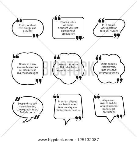 Quote text bubble with commas vector templates. Quote box design collection