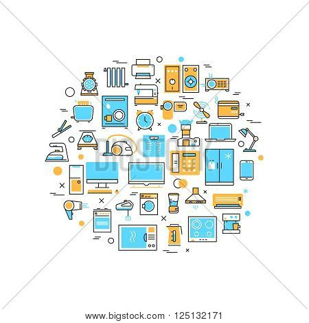 Home electronics appliances vector line icons in circle composition. Household appliances thin line concept background