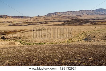 The Ramon Crater or Makhtesh Ramon nature reserve in Negev desert Israel