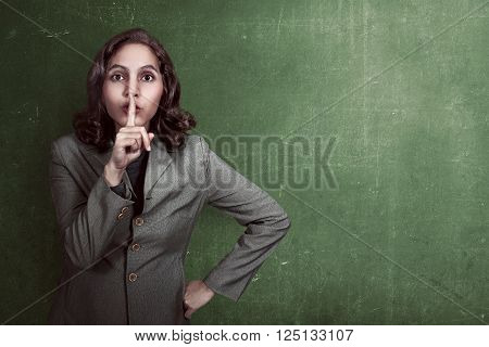 Asian Business Woman With Silent Gesture
