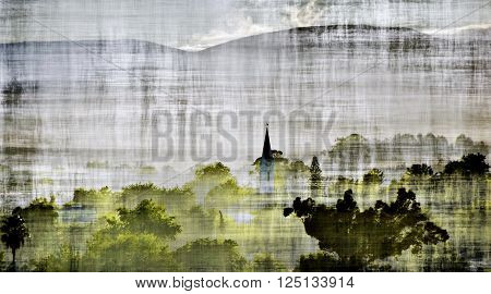 Landscape with early morning fog over Ceres
