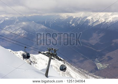 Scenery mountain top view from Rosa Peak with cable ski elevator ** Note: Soft Focus at 100%, best at smaller sizes