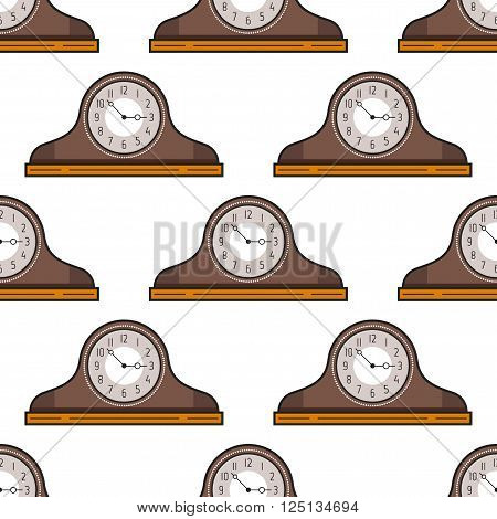 Seamless pattern with mantel clock . Decorative background. Vector illustration