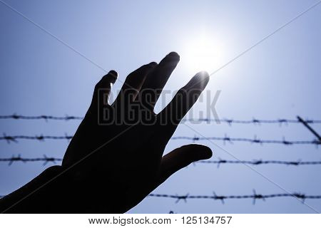 Silhouette hand extending to the sky with barbwire and sunlight
