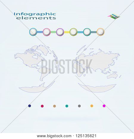 Vector globe icons showing earth with eastern and western hemisphere. Elements infographic vector illustration.