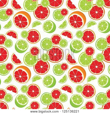 Vector seamless background of lime and grapefruit slices on white background.