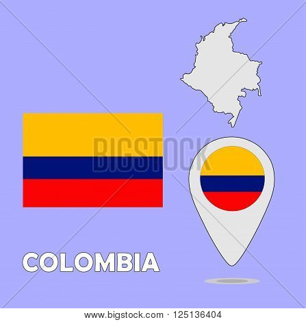 A pointer map and flag of Colombia