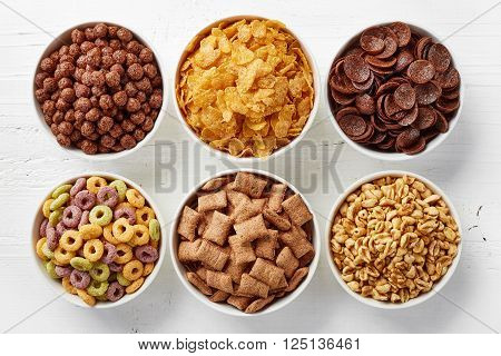 Bowls Of Various Cereals