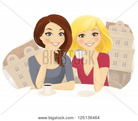 Friends in cafe. Two woman drinking coffee in street cafe