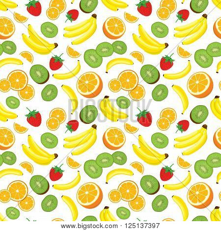 Multivitamin seamless background with fresh yellow bananas, kiwi, oranges and strawberries. Vector illustration on white background