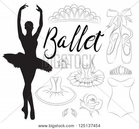 Ballet icon set with ballet shoes, ballet tutu, ballerina, applause. Vector ballerina isolated.