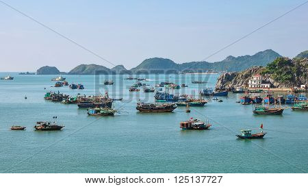 December 16, 2013, Halong Bay, Northern Vietnam. Many fishing boats are anchored in Halong Bay.