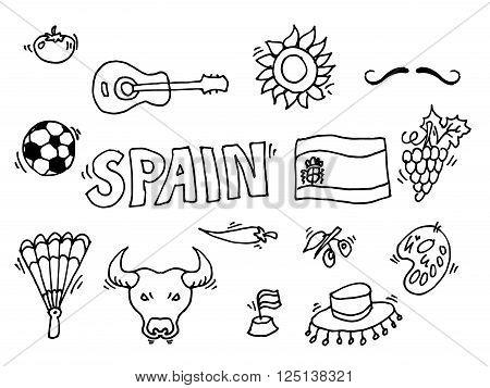Love Spain, doodles symbols of Spain. Vector illustration, EPS 10