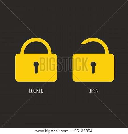 Lock icon with locked and open view position. Flat color design. Icon or symbol for web, ui design for smart house concept