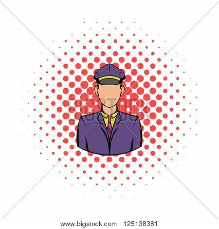Railroader in uniform icon in comics style isolated on white background
