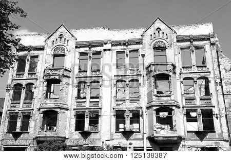 Kaliningrad, Russia (Konigsberg, the former East Prussia, Germany). August 6, 2015. German building, damaged by British aircraft in 1944. Black and white image