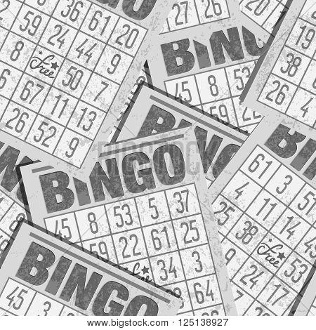 Bingo or Lottery Card Seamless Retro Background with Cards