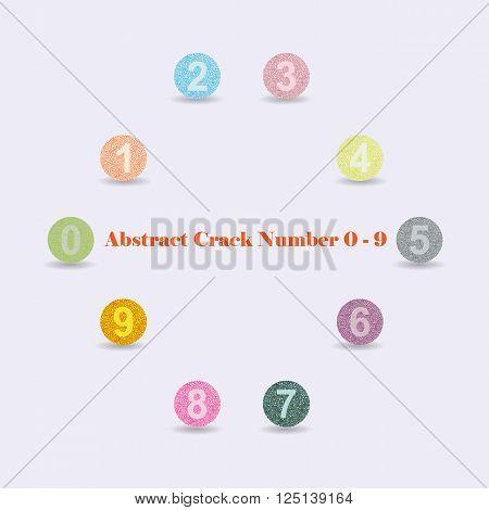 Modern Vector Crack Alphabet. Crack Font. Number Crack Letters. Modern crack pattern Lettering. Crack number 0 - 9
