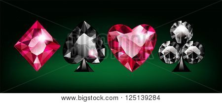 Diamond Card Suits on Green Canvas Background