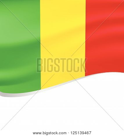 Vector-Waving flag of Mali isolated on white background