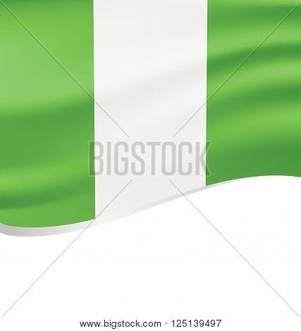 Waving flag of Nigeria isolated on white background