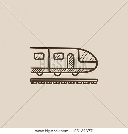 Modern high speed train sketch icon.