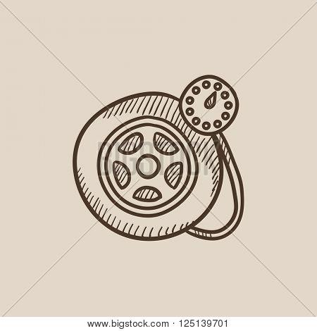 Pressure gauge tyre  sketch icon.