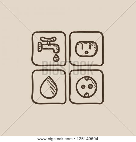 Utilities signs electricity and water sketch icon.