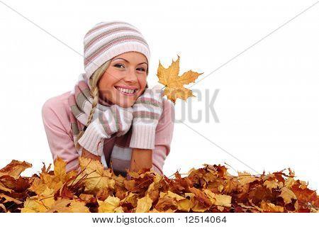 autumn woman in studio