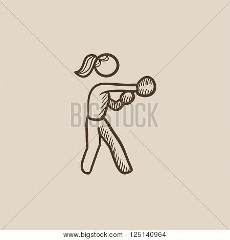 Female boxer sketch icon.