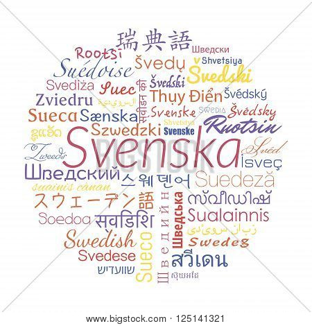 Swedish in the languages of the world. Vector collage for language school.
