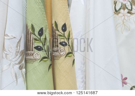 Traditional Textiles On A Market Stall, Colorful Fabric, Handmade Souvenirs In Crete, Greece